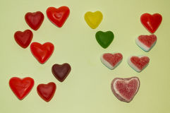 San Valentine Sweet hearts. The san Valentine letters made by candy hearts Stock Photos