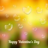 'San Valentino felice'. Bolle di sapone in forma di cuore Fotografia Stock Libera da Diritti