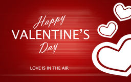 San Valentino felice con i cuori di amore su fondo rosso Fotografie Stock Libere da Diritti