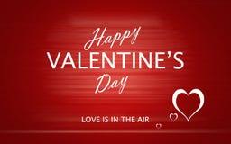 San Valentino felice con i cuori di amore su fondo rosso Fotografia Stock