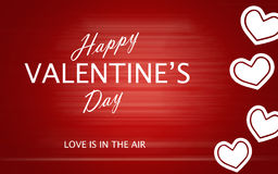 San Valentino felice con i cuori di amore su fondo rosso Fotografia Stock Libera da Diritti