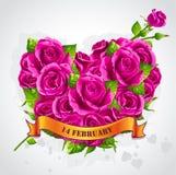 San Valentino felice della cartolina d'auguri con le rose Fotografie Stock Libere da Diritti