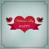 San Valentino felice della cartolina d'auguri nel telaio di vecchio stile Fotografia Stock Libera da Diritti