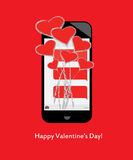 San Valentino felice! Mazzo dei cuori e dell'amore dai messaggi di testo sul cellulare/telefono cellulare Fotografia Stock