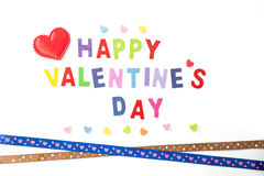 San Valentino felice su bianco Fotografie Stock
