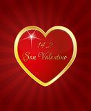 San valentino. Illustration of red heart with san valentino text in italian language royalty free illustration