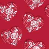 San Valentino senza cuciture elegante del modello con i cuori rossi di pizzo illustrazione vettoriale