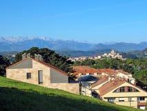 San Vicente de la Barquera and impressive Picos de Europa mountain range in the Northern Spain stock photos