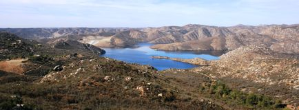 San Vicente Reservoir. In the hills of eastern San Diego County, CA Royalty Free Stock Photo