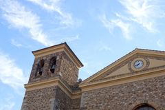 San Vicente, stoned church in a cloudless day, Potes. Spain Royalty Free Stock Photos