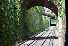 San Vigilio funicular railway. Working funicular of Colle di San Vigilio hill in Bergamo. Cable railway from the Lower Town to the Upper Town. Wall overgrown stock images