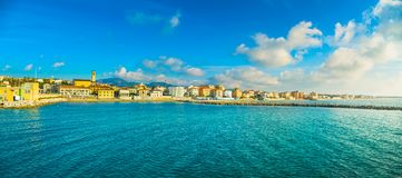 San Vincenzo beach and seafront panoramic view. Tuscany, Italy. San Vincenzo beach and seafront panoramic view. Sea travel destination, Tuscany, Italy Stock Image