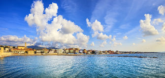 San Vincenzo beach and seafront panoramic view. Tuscany, Italy. San Vincenzo beach and seafront panoramic view. Sea travel destination, Tuscany, Italy Stock Images