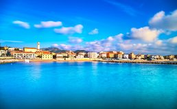 San Vincenzo beach and seafront panoramic view. Tuscany, Italy. Royalty Free Stock Photos