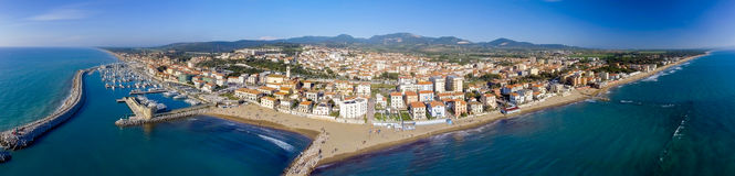 San Vincenzo coastline, Tuscany. Amazing aerial panoramic view Stock Photography