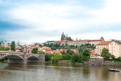 San Vito cathedral and castle, Prague, Czech Republic. San Vito cathedral from Moldava riverside, Prague Royalty Free Stock Photos