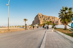 People walking on the promenade in San Vito Lo Capo. stock photos