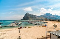 Fisher boats and yachts in the harbor of San Vito Lo Capo. royalty free stock image