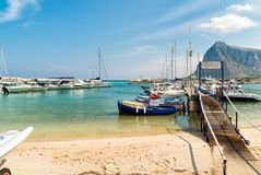 Fisher boats and yachts in the harbor of San Vito Lo Capo. royalty free stock images