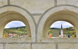 San Vitus Church Autumn di Cesky Krumlov Immagine Stock