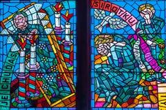 San Vitus Religious Vitrage Windows di Praga Fotografia Stock Libera da Diritti