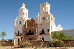 San Xavier del Bac. Spanish mission San Xavier del Bac started in 1692 by Spanish missionaries in the Americas Stock Image