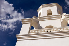 San Xavier del Bac Mission Church Bell Tower. In Tucson, Arizona, United States Stock Photo