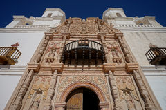 San xavier del bac mission facade details in tucson arizona. Facade architecural details of san xavier del bac mission in tucson arizona Stock Photo