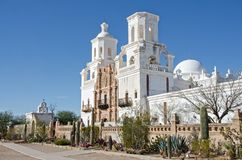 San Xavier del Bac Mission. The San Xavier del Bac Mission stands on the Tohono O`odham Indian Reservaton near Tucson, Arizona Royalty Free Stock Images