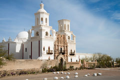 San Xavier Del Bac Mission, Tucson, Arizona. San Xavier del Bac Mission on the Tohono O'odham Indian Reservation near Tucson, Arizona are photographed on a warm Stock Photography