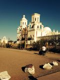 San Xavier Del Bac White Dove of the Desert Mission Sanctuary. The historic restored Catholic Church of the desert adjacent to the Tohono O'Odham Nation / Indian stock images