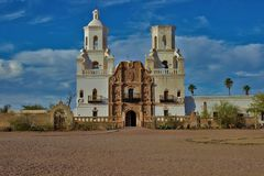 San Xavier Mission. The San Xavier Mission is located outside of Tucson, Arizona Stock Photo