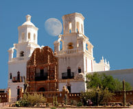 San Xavier Mission Moon. Spanish mission San Xavier moon rise started in 1692 by Spanish missionaries in the Americas Stock Photography