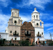 San Xavier Mission. Spanish mission San Xavier del Bac started in 1692 by Spanish missionaries in the Americas Royalty Free Stock Images