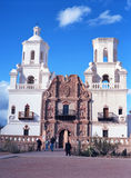 San Xavier Mission. Spanish mission San Xavier del Bac started in 1692 by Spanish missionaries in the Americas Stock Image
