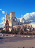 San Xavier Mission. Spanish mission San Xavier del Bac started in 1692 by Spanish missionaries in the Americas Royalty Free Stock Image