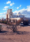 San Xavier Mission. Spanish mission San Xavier del Bac started in 1692 by Spanish missionaries in the Americas Royalty Free Stock Photo