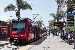 San Diego Trolley at International Border with Mexico Royalty Free Stock Image