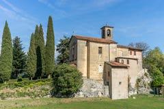 San Zenone in Prabione in Italy. Medieval church in Prabione in Italy stock photo