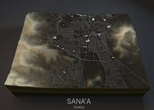 Sana'a街道和大厦地图 库存照片