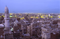 Sana, capital city of Yemen. Unique view of the rooftops of Sana, capital city of Yemen, in evening at blue hour Stock Photography