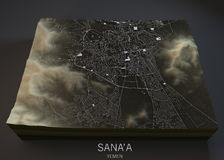 Sana'a streets and buildings map Stock Photos