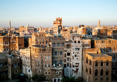 Sanaa-alte Stadt in Yemen Stockfotos
