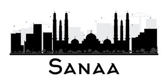 Sanaa City skyline black and white silhouette. Stock Photo