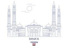 Sanaa City Skyline, Yemen Stock Foto's