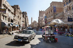 Sanaa city yemen street scene Royalty Free Stock Photos
