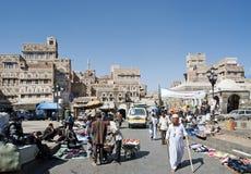 Sanaa city yemen street scene at bab yemen square Stock Images