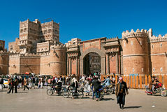 Sanaa city yemen street scene at bab yemen square Stock Images