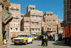 Sanaa city yemen street scene with people and taxi Stock Photography