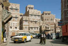 Sanaa city yemen street scene with people and taxi Royalty Free Stock Image